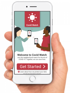Sample screenshot of the Covid Watch app