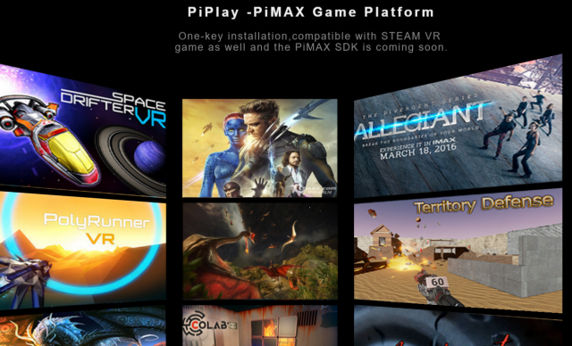 Piplay's Pimax offers a library of games but the headset can also play many Oculus and Steam compatible titles