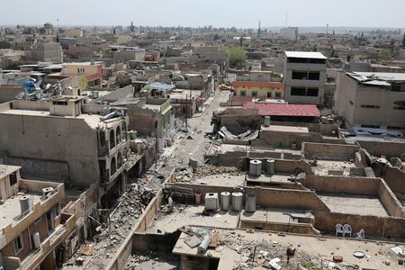 General view of destroyed buildings in Mosul