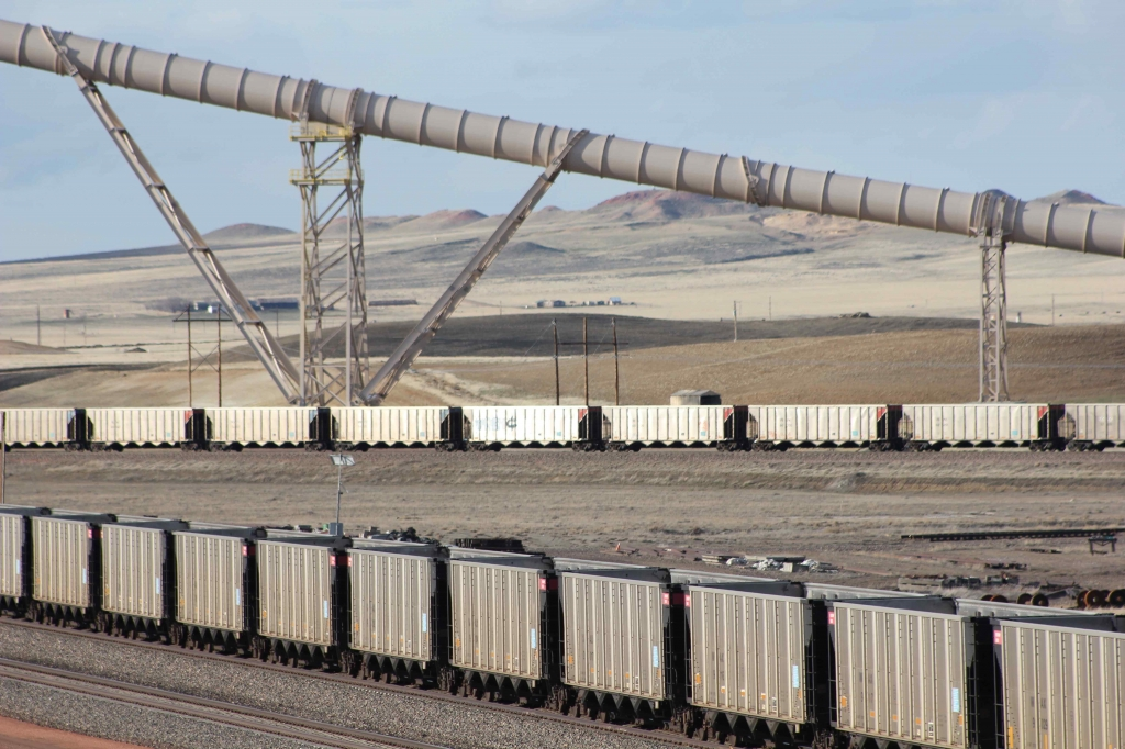 Coal trains await loading in the Powder River Basin of Wyoming