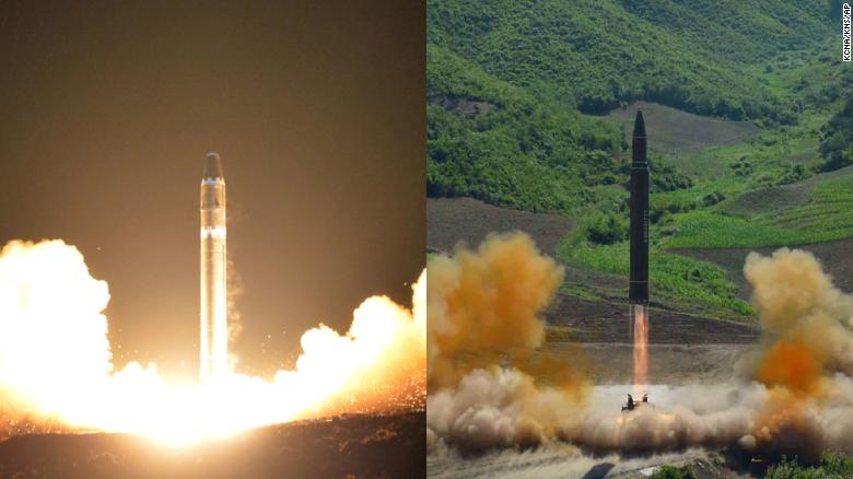 The Hwasong-15 left and Hwasong-14 right