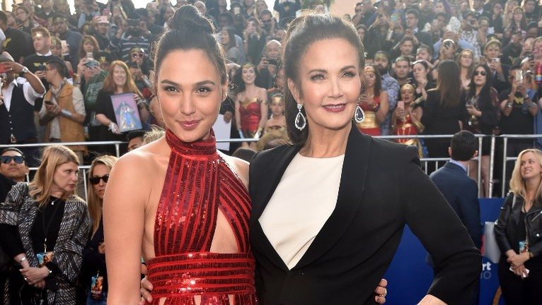 Actors Gal Gadot and Lynda Carter attend the premiere of Warner Bros
