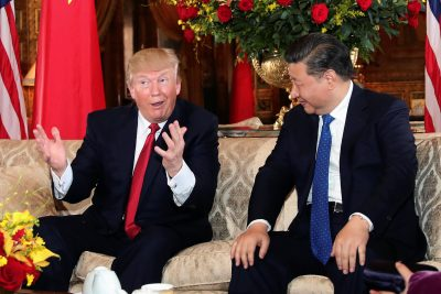 US President Donald Trump interacts with Chinese President Xi Jinping at Mar-a Lago in Palm Beach Florida United States 6 April 2017