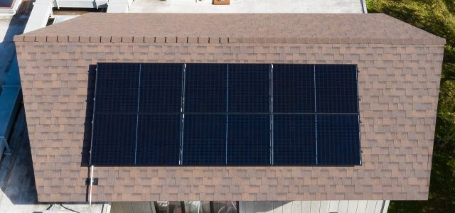 Due to fire setbacks, only about half of this roof surface was available for solar panels (in this case 6 * 310 watts each)