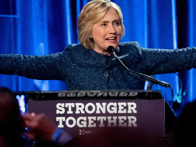 Hillary Clinton speaks during a LBGT For Hillary Gala during a Cipriani Club in New York. Picture: Andrew Harnik/AP
