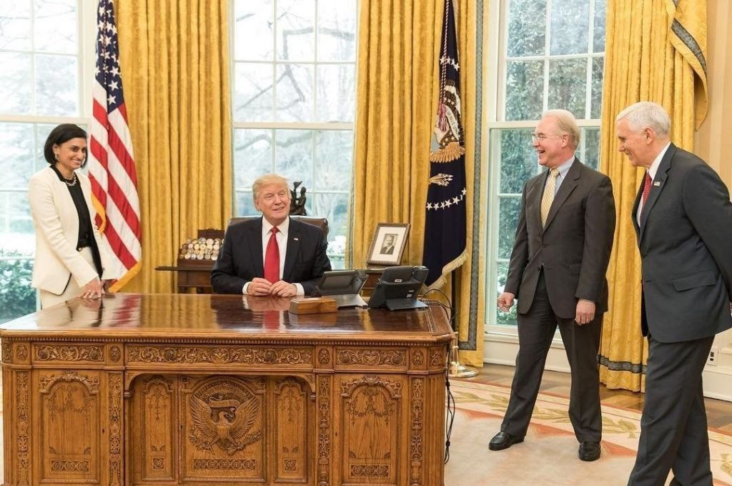 Verma Administrator of the Centers for Medicare and Medicaid Services Secretary Tom Price U.S. Secretary of Health and Human Services and Vice President Mike Pence