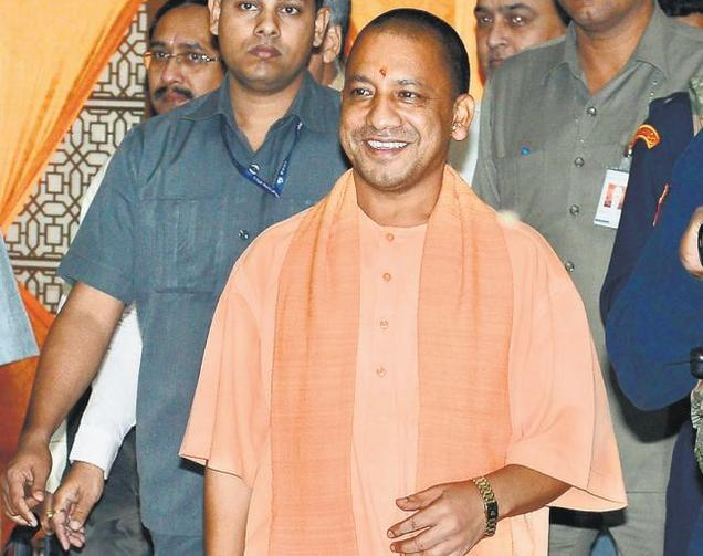 Uttar Pradesh Chief Minister Yogi Adityanath leaves after his first Cabinet meeting in Lucknow on Tuesday