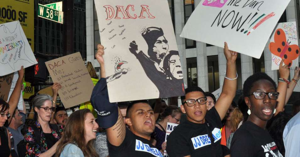 Protesters held a March to Defend DACA and Immigrants in New York last month. Protests are planned this week to protect young undocumented immigrants