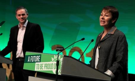 Image Text NEW DAY Green party co-leaders Jonathan Bartley and Caroline Lucas at their annual conference last month