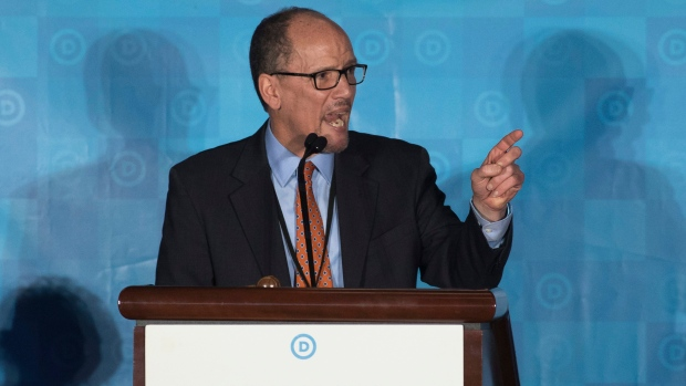 Former labour secretary Tom Perez speaks during the general session of the DNC winter meeting in Atlanta on Saturday. Perez was elected the new DNC chairman later that day