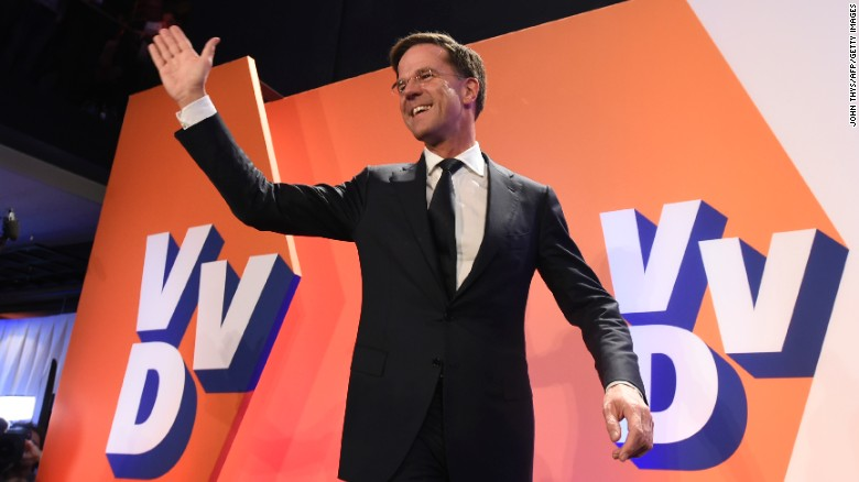 Netherlands#39 prime minister and VVD party leader Mark Rutte celebrates after winning the general elections in The Hague