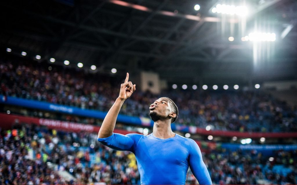 Paul Pogba of France celebrates after the 2018 FIFA World Cup Russia Semi Final match between Belgium and France