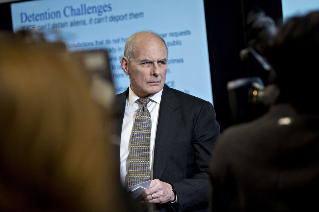 John Kelly White House chief of staff listen during a Customs and Border Protection roundtable discussion with at the CBP National Targeting Center in Sterling Virginia on Feb. 2 2018. MUST CREDIT Bloomberg