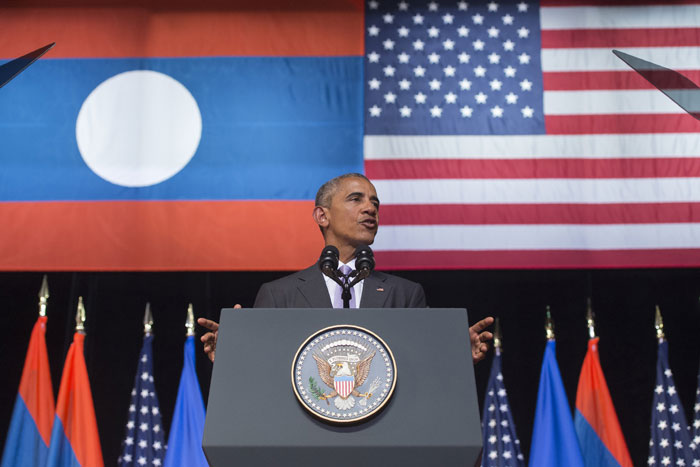 U.S. President Barack Obama speaks Tuesday during a Lao National Cultural Hall in Vientiane Laos. CAROLYN KASTER, THE ASSOCIATED PRESS