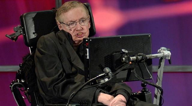 Stephen Hawking, with his typing computer system