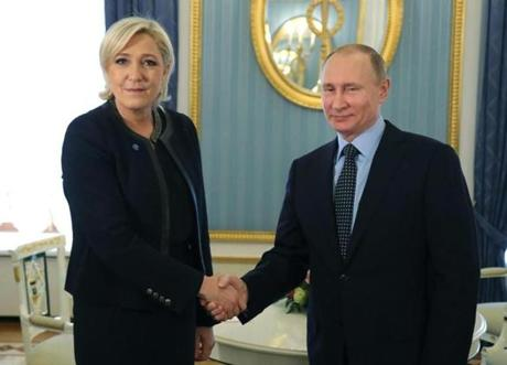 French far-right presidential candidate Marine Le Pen advocates closer ties with Vladimir Putin. They met in Moscow Friday