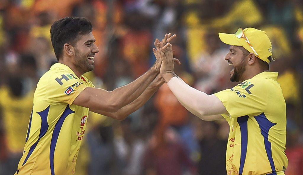 Chennai Super Kings CSK bowler Deepak Chahar celebrates the wicket of Sunrisers Hyderabad player. | PTI