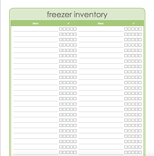 Meal Planning Templates: Freezer Inventory