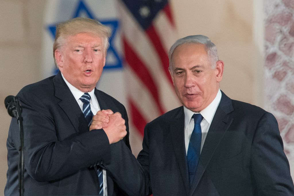 US president Donald Trump and Israeli Prime Minister Benjamin Netanyahu arrive to give their final remarks at the Israel Museum in Jerusalem before Trump departure