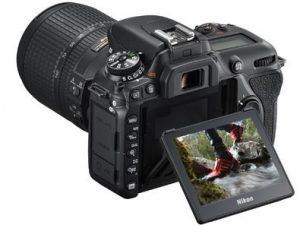 The touchscreen on the Nikon D7500 isn't fully articulating, but it does tilt to help make shooting low or high easier