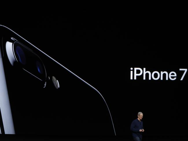 Apple CEO Tim Cook announces a new Apple iPhone 7. Picture: Getty