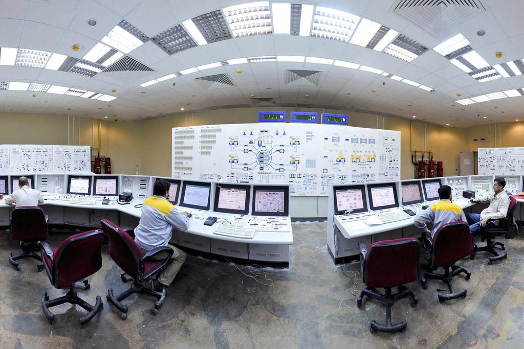 Inside the Iranian nuclear power plant unit in Bushehr about 1,200km south of Tehran. Reuters
