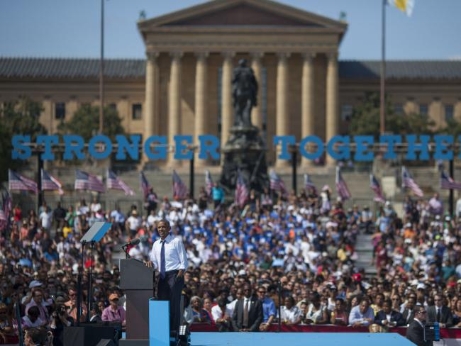 Barack Obama campaigns for Democratic hopeful Hillary Clinton in Philadelphia, Pennsylvania. Picture: Jessica Kourkounis/Getty Images/AFP