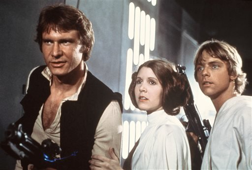 "Harrison Ford Carrie Fisher and Mark Hamill appear in the original ""Star Wars."""