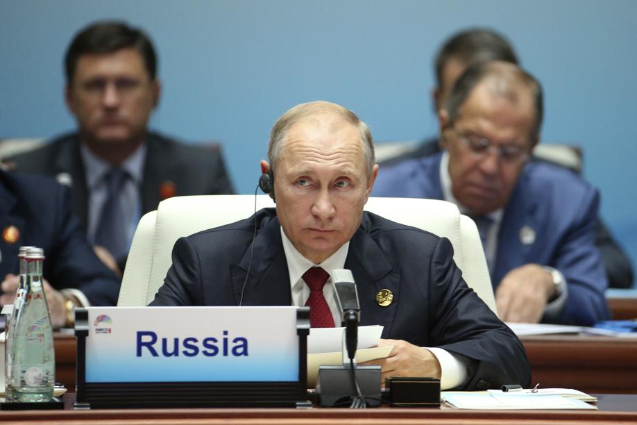 Russian President Vladimir Putin attends the Dialogue of Emerging Market and Developing Countries on the sideline of the BRICS Summit in Xiamen China on Sept. 5