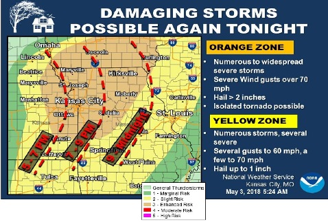 Severe storms are possible tonight in Wyandotte County