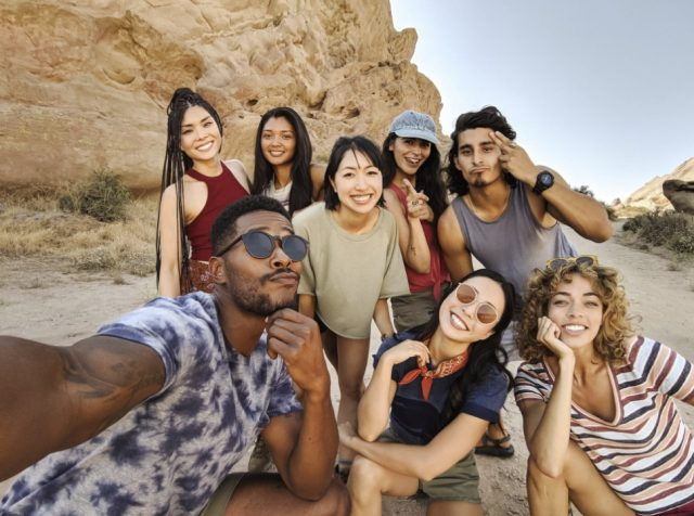 The second, wide-angle, front-facing camera makes group selfies a lot easier.