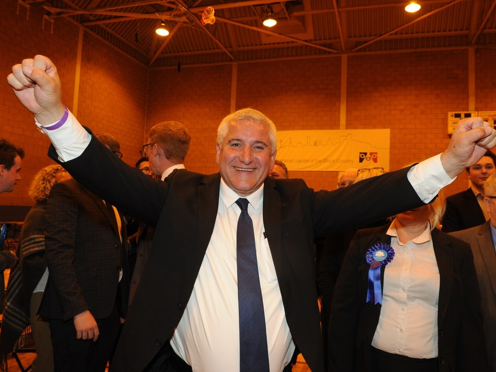 Dudley Conservative leader Patrick Harley celebrates at the count at Crystal Leisure Centre