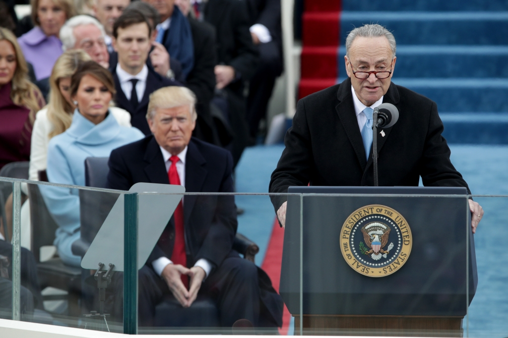 Sen. Chuck Schumer delivers remarks at the inauguration of President Donald Trump