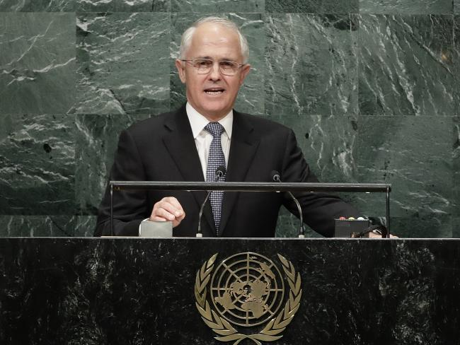 Malcolm Turnbull speaks during a 71st event of a United Nations General Assembly, Wednesday, Sept. 21, 2016, during U.N. headquarters. (AP Photo/Frank Franklin II)