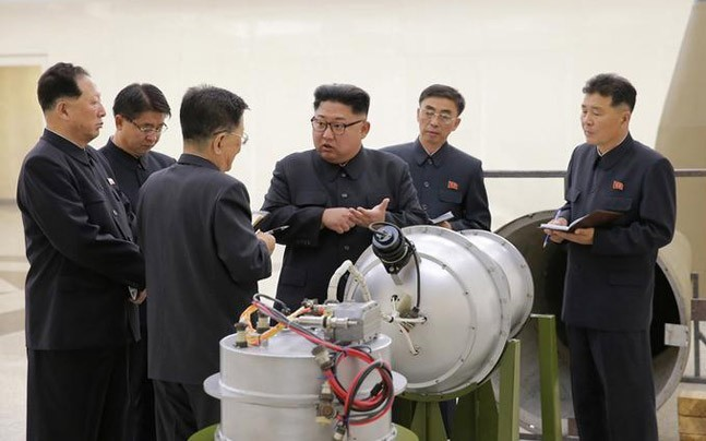 North Korean leader Kim Jong Un provides guidance on a nuclear weapons program in this undated