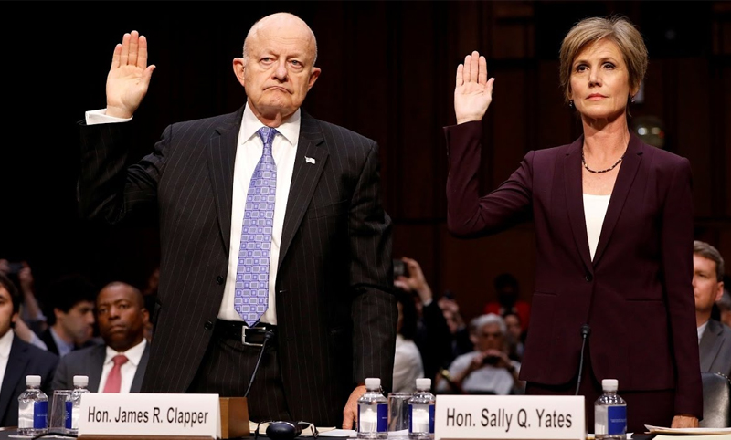 Former Director for National Intelligence James Clapper and former Assistant Attorney General Sally Yates are sworn in before testifying to Congress