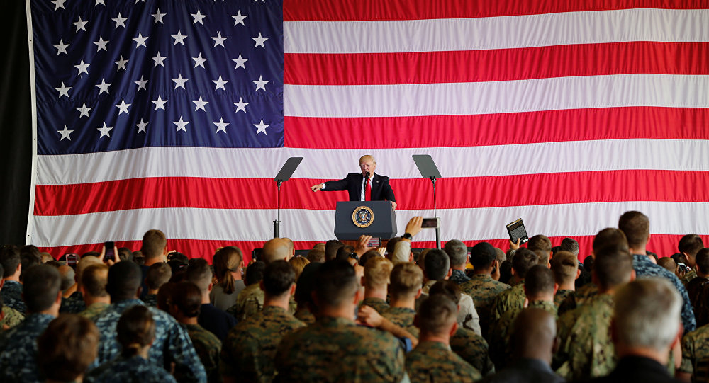U.S. President Donald Trump delivers remarks to U.S. military personnel at Naval Air Station Sigonella following the G7 Summit in Sigonella Sicily Italy
