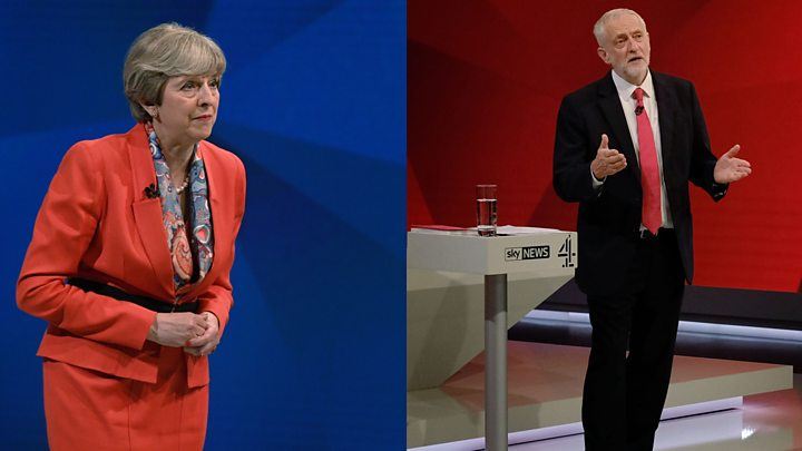 Media playback is unsupported on your device                  Media caption The two leaders faced questions on the NHS and the economy
