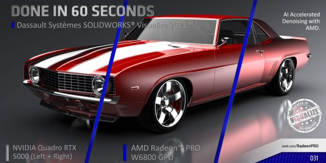 AMD is particularly proud of the noise reduction and ray-tracing performance of the W6800. copy
