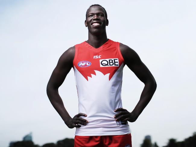 Sydney Swans defender Aliir Aliir featured in a Prime Minister's initial debate to a United Nations General Assembly. Picture: Phil Hillyard
