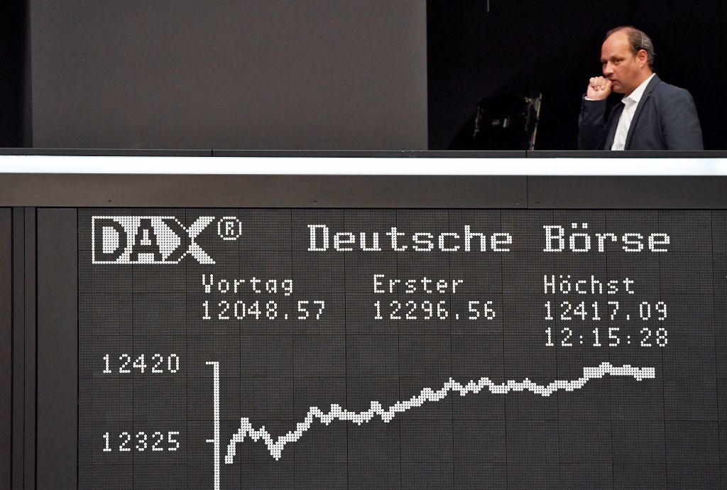 The Dax closed at a record high in Frankfurt after Emmanuel Macron a pro-EU candidate became favourite to win the French presidency Arne Dedert  AP