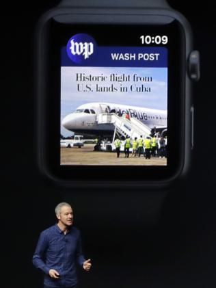 Jeff Williams, Apple's arch handling officer, unveils a Apple Watch Series 2. Picture: AP