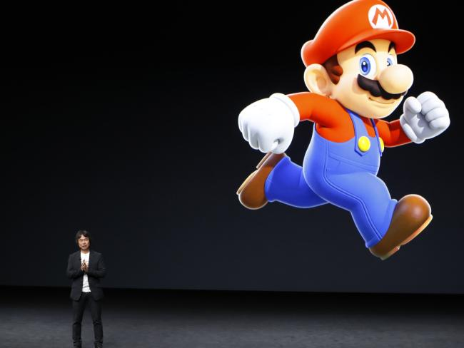 Shigeru Miyamoto, artistic associate during Nintendo and creator of Super Mario, speaks on theatre during an Apple launch event. picture: Getty