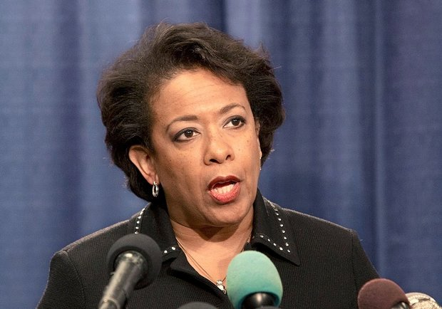 Attorney General Loretta Lynch speaks during a news conference today in Chicago