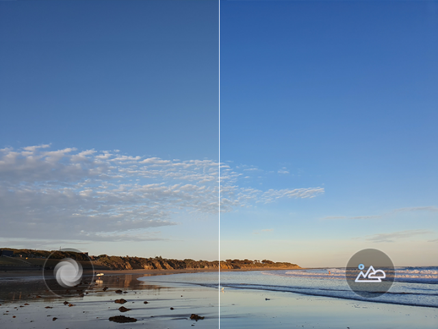 The S10's Scene Optimizer recognizes this beachscape and uses that information to enhance the color of the sky and water