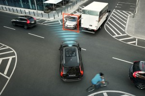 City Safety is now the umbrella name for all auto brake functions. The all-new Volvo XC90 is the first car in the world with technology that features automatic braking if the driver turns in front of an oncoming car.
