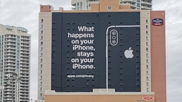 Apple famously skips CES, but this year decided to take a dig at Google, Facebook, and others who live off user data with this giant billboard outside the Convention Center.