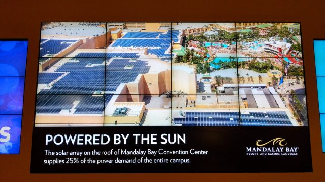 It is really hard to get your head around the scale of some of the Hotel / Casino complexes. Mandalay Bay (which hosts may of the Press Events at CES) touts that it uses 28 acres of solar panels on its roof as part of its power supply. At least in Winter they aren't cooling off the 100-degree temps to 60-something like in Summer.