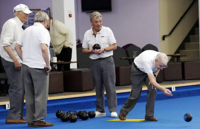 Don Brown takes his shot at Cumbria Indoor Bowls Club