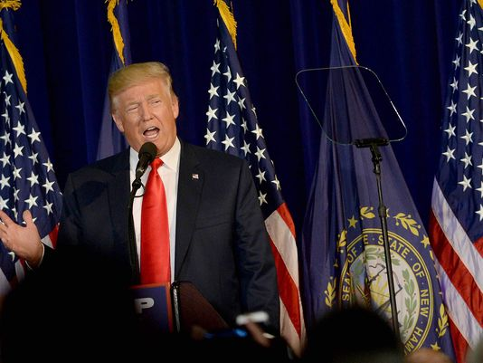 Republican Presidential hopeful Donald Trump speaks during Laconia Middle School